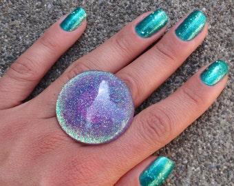 Lavender Iridescent Glitter Bubble Statement Ring, Purple Glitter Mermaid Ring, Lavender Sparkle Resin Ring, Glitter Fusion Original Ring