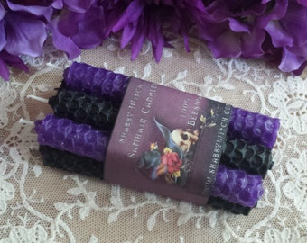 Samhain Black and purple candles, Mini Beeswax Spell Candles, Chime candles