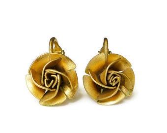 Lewis Segal Earrings Rosebud Rose Flower Gold Studs Clip Back Vintage Jewelry