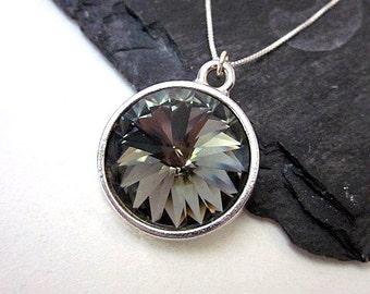 Grey Pendant Necklace -- Silver & Grey Necklace -- Black Diamond Necklace -- Dark Grey Necklace -- Grey Swarovski Necklace -- Grey Necklace
