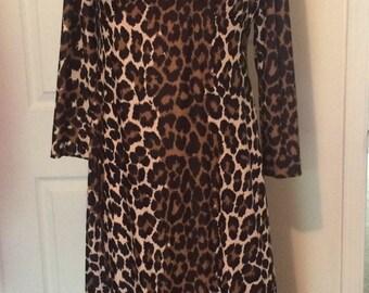 Vintage 1970s Polyester Leopard Print Empire Maxi Dress