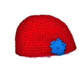 Red Mesh Hat WithTurquoise Flower Size Teen To Adult