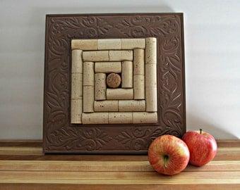 Wine Cork Trivet - Copper Wood Frame - Upcycled, Repurposed Serving Piece, Kitchen Decor