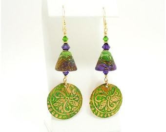 Purple Green Mixed Metal Earrings, Metalwork Earrings, Copper Earrings, Lampwork Earrings, Beadwork Earrings, Dangle Earrings, Boho Earrings