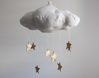 Luxe Leather Star Cloud Mobile in Gold, Rose Gold or Silver Metallic Leather and Linen - Nursery Decor - Free US Shipping