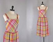 1970s plaid sundress /1970s Parade NY dress / Plaid Parade dress