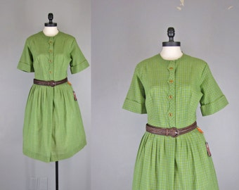 1960s Vintage Dress l 60s Olive Green and Blue Plaid Shirtdress