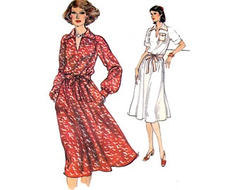 70s Flowing Shirtdress Pattern Vogue 9769 Very Easy Vogue Vintage Sewing Pattern Size 14 Bust 36 inches