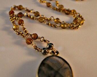 Labradorite gemstone necklace,gold necklace,multi gemstone necklace,labradorite necklace,gemstone necklace,hessonite necklace,gold jewelry
