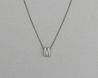 Antique Silver Initial Slider Necklace