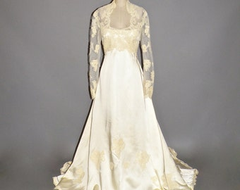 1970s Wedding Dress, Priscilla of Boston Wedding Gown, Satin and Lace Vintage Bridal Dress M - L
