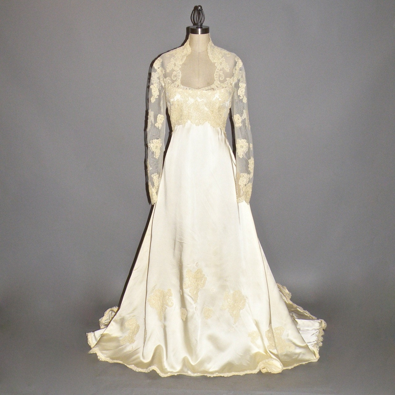 1970s wedding dress priscilla of boston wedding gown satin for Wedding dresses boston cheap