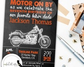 Harley Davidson Birthday Party Invitation, Chalkboard Invitation, Motorcycle Invite, DIY, Printable or Printed Invitations, Free Shipping