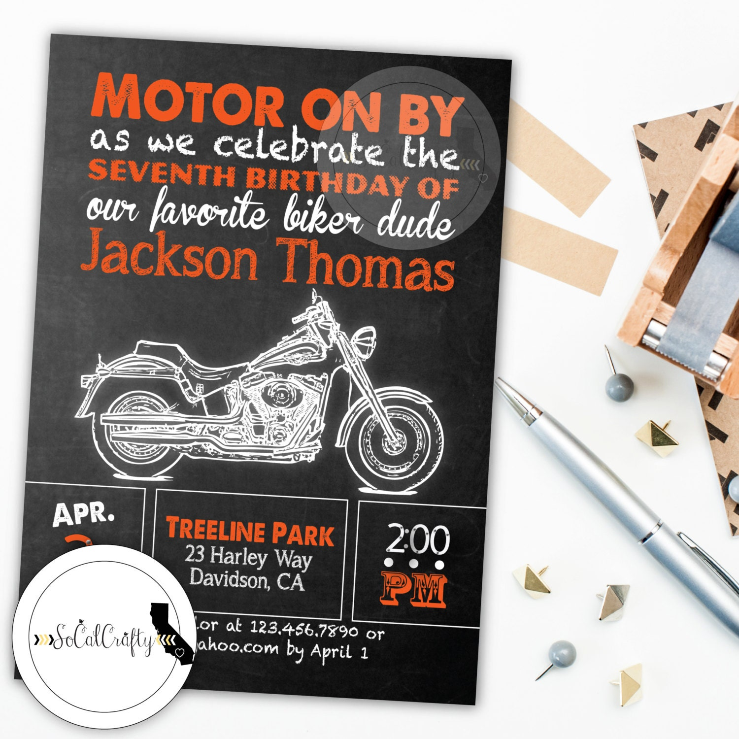 Harley Davidson Birthday Party Invitation Chalkboard