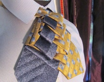Unisex upcycled Steinkirk, blue and gold stripe, steampunk, Victorian spin on your everyday tie