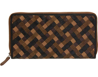 Genuine Leather Women Woven Zipper Around Clutch Wallet, Rare 1990's style