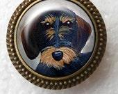 Bague teckel Wirehair ~ bague en Bronze chien ~ Saint Valentin ~ teckel Lo ver cadeau ~ cadeau d'anniversaire ~ peinture teckel