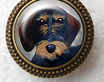 Wirehair Dachshund Ring ~ Bronze Dog Ring ~ Dachshund Lover Gift ~ June Birthday ~ Dachshund Painting