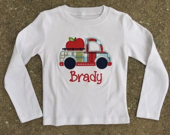 Boys Apple Truck Applique Shirt includes personalization  Back to School