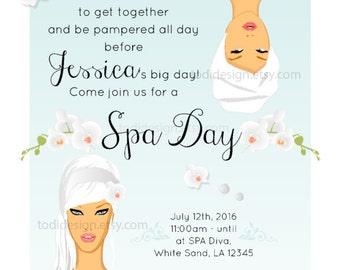 Spa Salon Day Bridal Shower invitation Design- Printable -bridal shower
