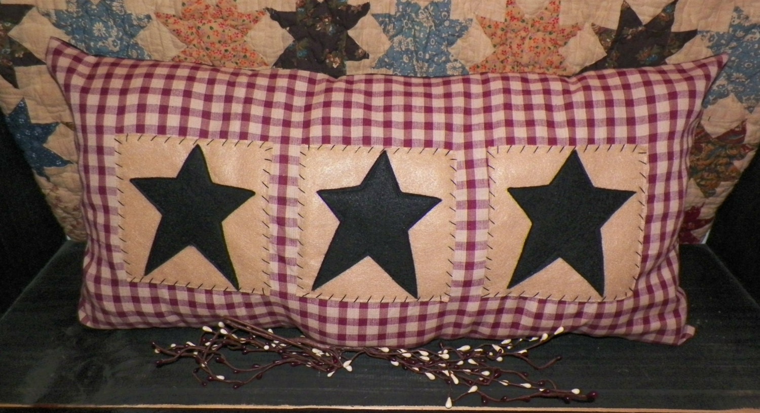 Unstuffed large primitive pillow barn stars country home decor for Country star decorations home