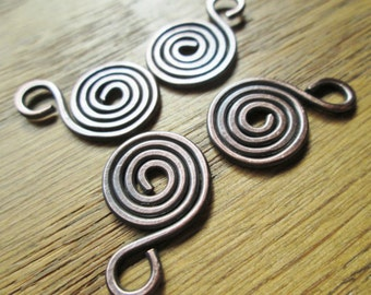 Swirl Charms, Handmade 10pcs Choose from Copper, Oxidized Copper, NuGold or Sterling Silver
