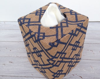 Blue lattice burlap tissue box cover