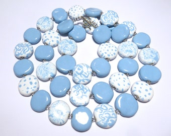 Blue and White Beaded Necklace, Ceramic Jewelry, Kazuri Bead Necklace