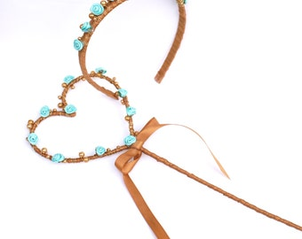 Flower girl Wand & Headband Set - Princess wand Set Wedding Wand- Fairy Wand- Heart Wand - Bridesmaid Wand - Alternative Flower girl Wand