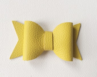 Genuine leather bow headband-butter yellow