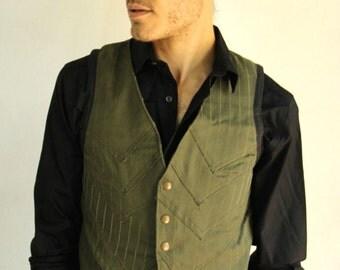 Steampunk, olive green, pinstriped vest.