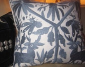 GORGEOUS GRAY Hand Embroidered Otomi Pillow Cover 20 x 20 Cotton Best Made FAB!