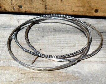 Silver Rustic Stacking Bangles