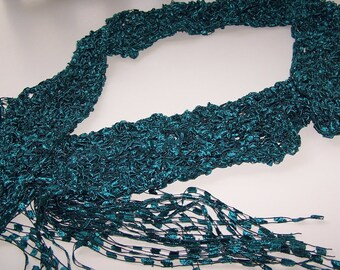 SALE20% OFF; Rich Teal Ladder Yarn Scarf, Hand Knit Skinny Scarf, Pretty and Practical Fashion Accessory for Women and Teens