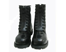 Thorogood Fireman Work Boots Mens Black Leather Zip On Fast Combat Boots Made In The USA Mns USA Size