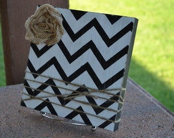 Chevron Frame with Burlap Rose