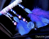Full Blue Moon in Aquarius Blue and Purple Feathered Wand with Amethyst Point