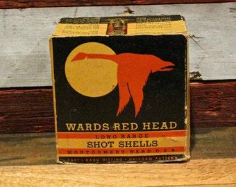 Vintage Wards Red Head 12 Gauge Shotgun Shell Box / Ammo / Duck / Goose