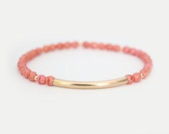 Coral Pink Beaded Bar Bracelet - Gold Filled or Sterling Silver - Nuelle