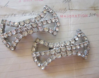 vintage MUSI rhinestone shoe clips - bow shape - clear stones, signed Musi clips