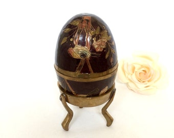 Brass Enamel Egg in Brass Stand Made in India