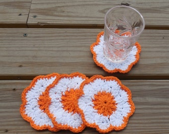 Floral Drink Coasters, Crochet Cotton Coasters, Summer Party Decorations, Melon Orange and White Coasters, Set of 4