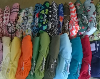Set of 6 Diapers - All-in-one Cloth Diapers - Velcro or Snaps