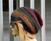 BEANIE Bohemian HAT, Slouchy Hat, Tam Beret Beanie cap, Crochet Knit Hat, Womens mens Gift Hat, Chemo Travel Hat, Winter Hat, Slouchy Beanie