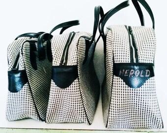 Retro 1960s Houndstooth black and white Mod Travel Bag Purse Tote Set