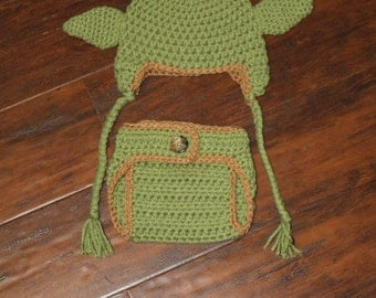Made to Order Yoda Inspired hat and diaper cover set: Newborn