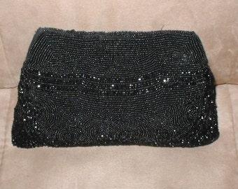 Vintage BLACK Beaded Evening Bag Purse circa 1930's