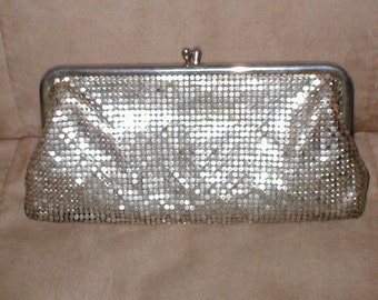 Vintage Silver Metal-Mesh Clutch Purse by WHITING and Davis