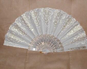 Vintage white & gold Art Nouveau Folding Fan