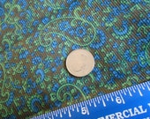 Vintage Paisley pinwale Corduroy brown base with blue and green floral designs. 1 2/3 yards of 44 inch fabric